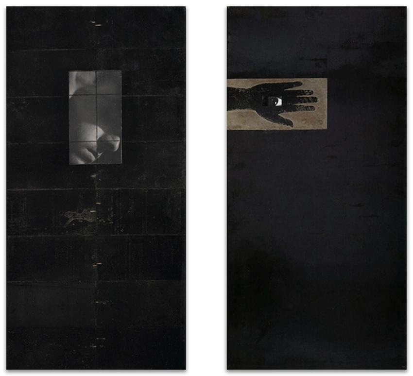 S.T., 1994, Fotografía y hierro, 100x50 cm, Colección particular