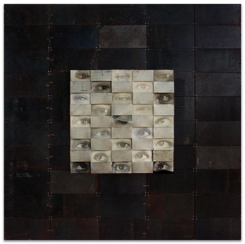 S.T., 1994, Fotografía y hierro, 125x125 cm