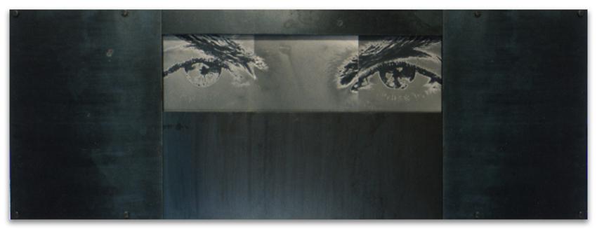 S.T., 1994, Fotografía y hierro, 35x105 cm