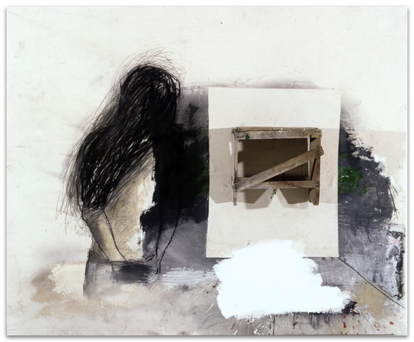 S.T., 2001, Madera, acrílico, óleo y grafito sobre tela, 150×180 cm