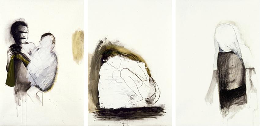 No Mires Atrás; 1950; S.T., 2002, Mixta sobre papel, 180×120 cm