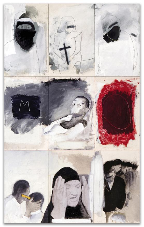 Mujinga, 2000, Mixta sobre tela, 245×150 cm, Colección particular