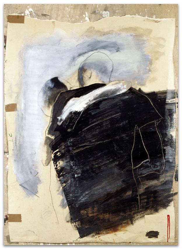 Abrazo, 2000, Grafito y esmalte sobre papel-tabla, 150x110 cm