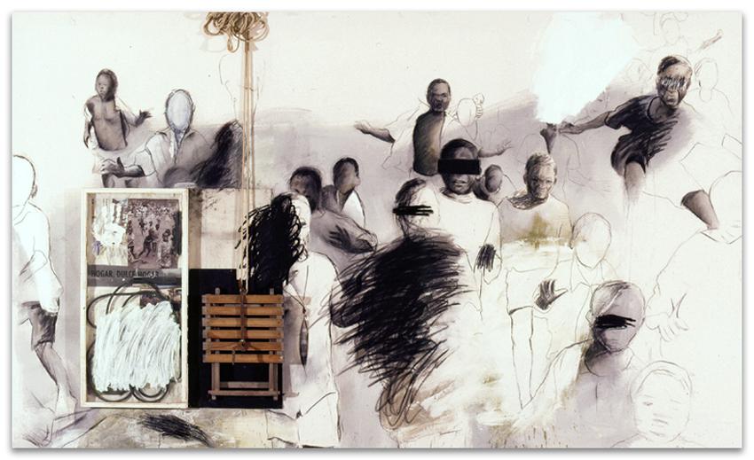 Hogar Dulce Hogar, 2001, Técnica mixta sobre tela, 180x300 cm