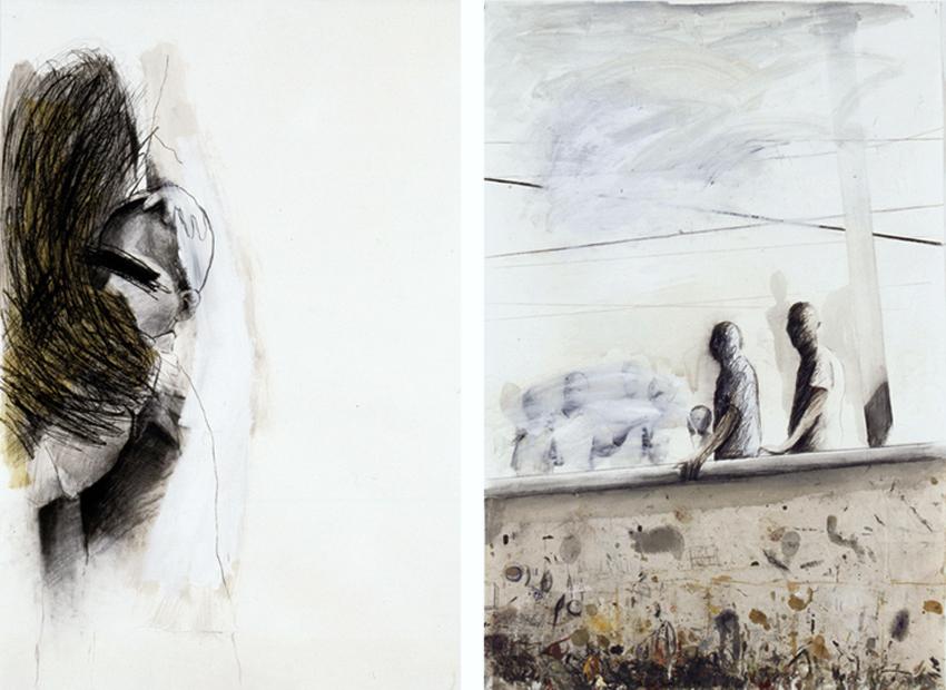 Sáhara; Alnar, 2002; 2001, Técnica mixta sobre papel, 180x120 cm