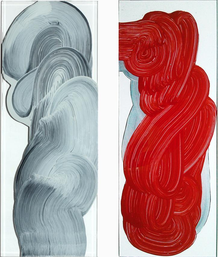 Vidriera, 2012, Esmalte sobre cristal, 83,5x30 cm c/u