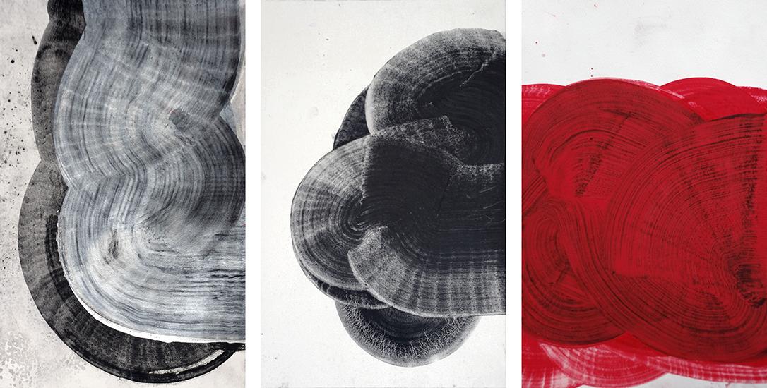 Meandres, 2014, Grafito y acrílico sobre papel, 40x25 cm c/u