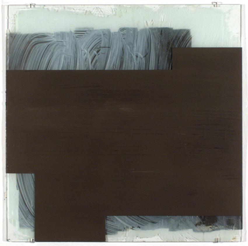 Vidriera I, 2004, Acrílico, óleo y laca sobre cristal, 75x75 cm