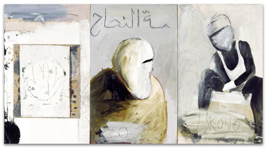 Kono, 2000, Técnica mixta sobre tela, (tríptico) 81x150 cm