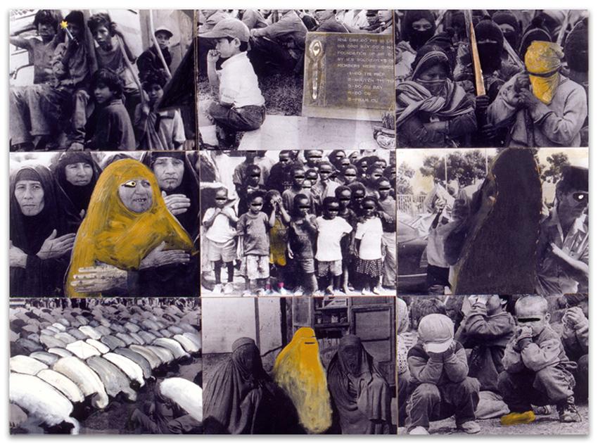 A Tu Alrededor, 1999, Fotografía y técnica mixta sobre tabla, 138,5×183,5 cm