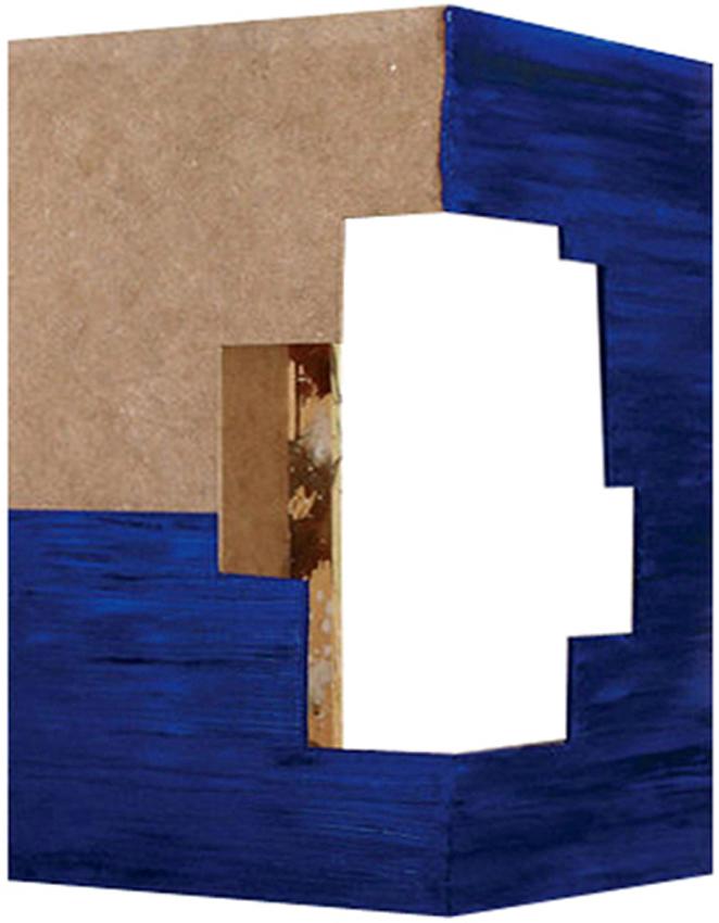 Construcción II, 2004, Acrílico y óleo sobre madera, 39,5x24x24