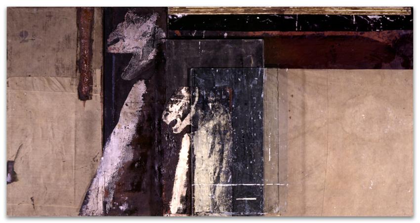 Las Puertas De Dite, 1997, Técnica mixta sobre tela, 145 x 284 cm
