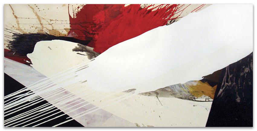 S.T., 2003, Acrílico, óleo y grafito sobre tela, 120x240 cm