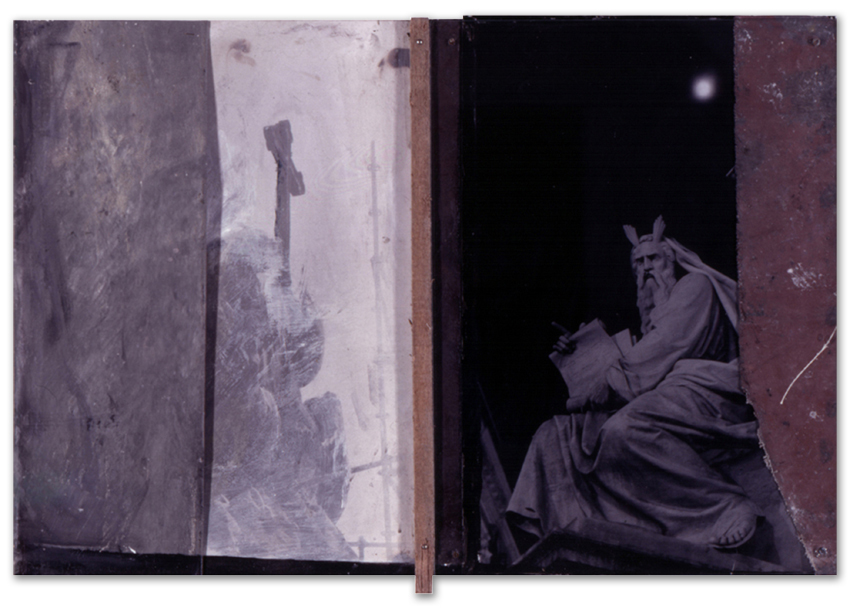Moisés, 1997, Fotografía, acrílico y cristal sobre tela-tabla