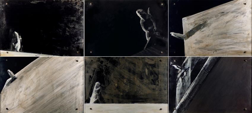 Nocturnos, 1997, Acrílico y cristal sobre fotografía-tabla