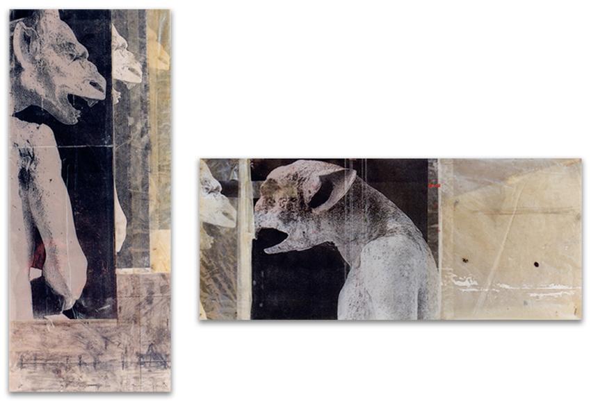 Gárgolas, 1996, Fotocopia y plástico sobre tabla, 60x25 cm; 25x60 cm