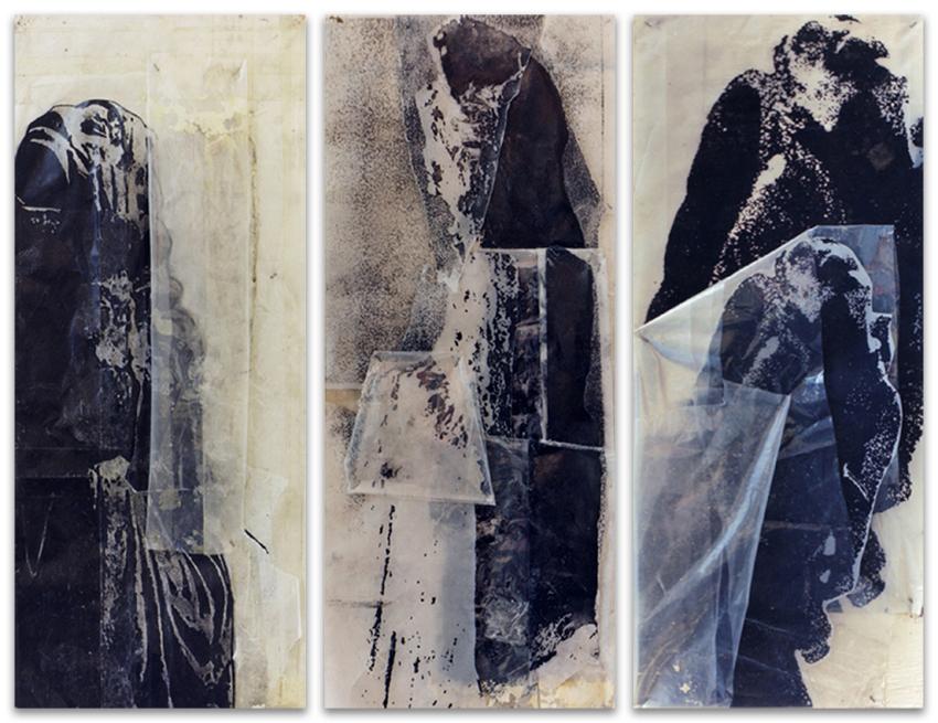 Gárgolas, 1996, Acrílico, fotocopia y plástico sobre tabla, 60x25 cm