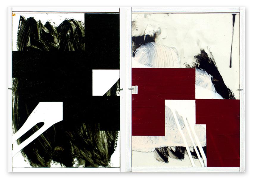 Vidrieras, 2004, Esmalte y óleo sobre cristal, 30X21 / Colecció